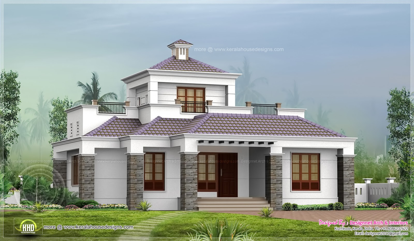 Single floor home with stair room in 1500 sq ft home for Kerala single floor house plans