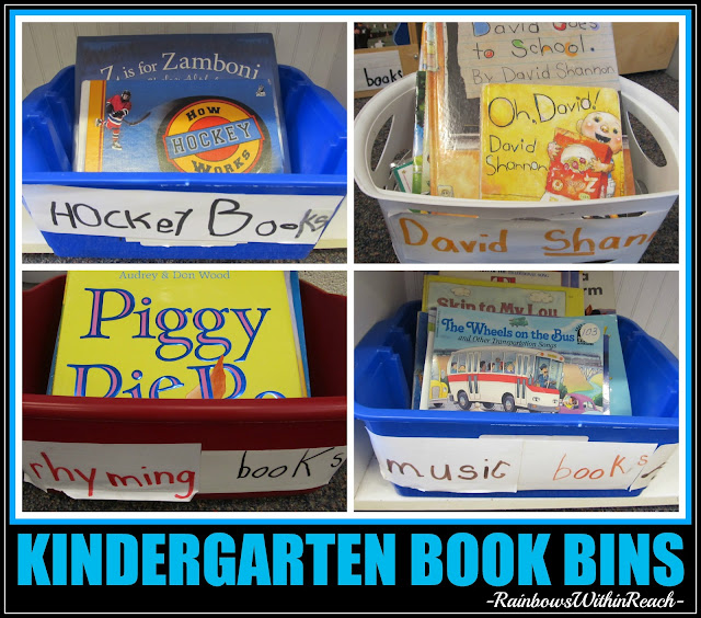 Book Bins in Kindergarten, Organized by Topic