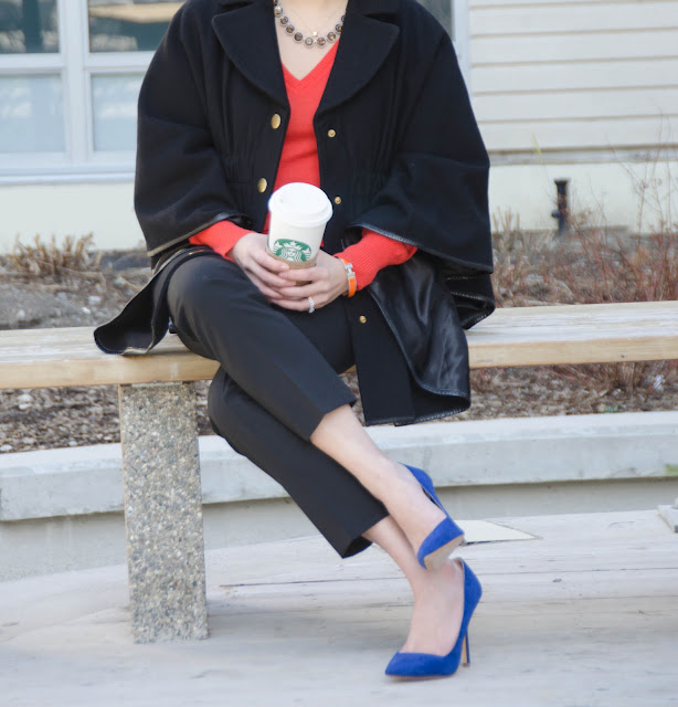 Cape, orange sweater, cobalt blue shoes, blue suede pumps, Zara court shoes