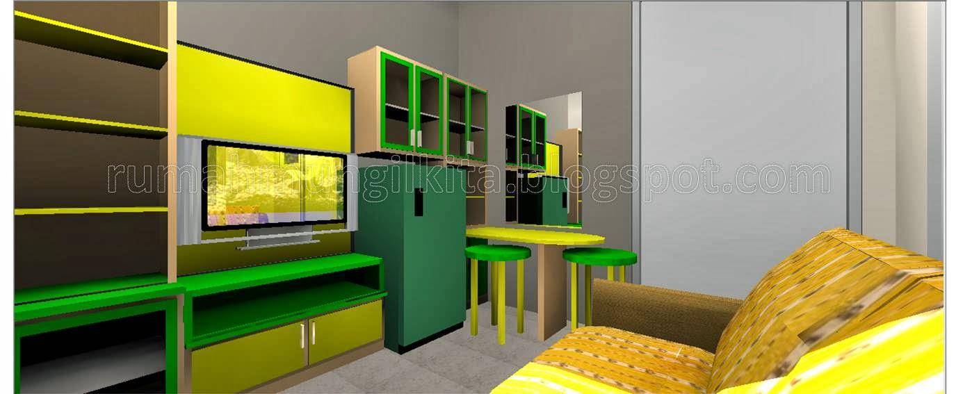 Penggabungan ruang tamu, ruang keluarga, ruang makan dan pantry dalam satu ruangan