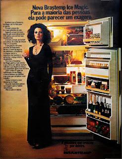 propaganda refrigerador Brastemp - 1976.  Reclame 1976.  década de 70. os anos 70; propaganda na década de 70; Brazil in the 70s, história anos 70; Oswaldo Hernandez;