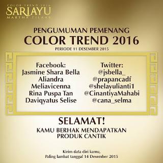 Pengumuman Pemenang Sariayu #ColorTrend2016 periode 11 Desember 2015