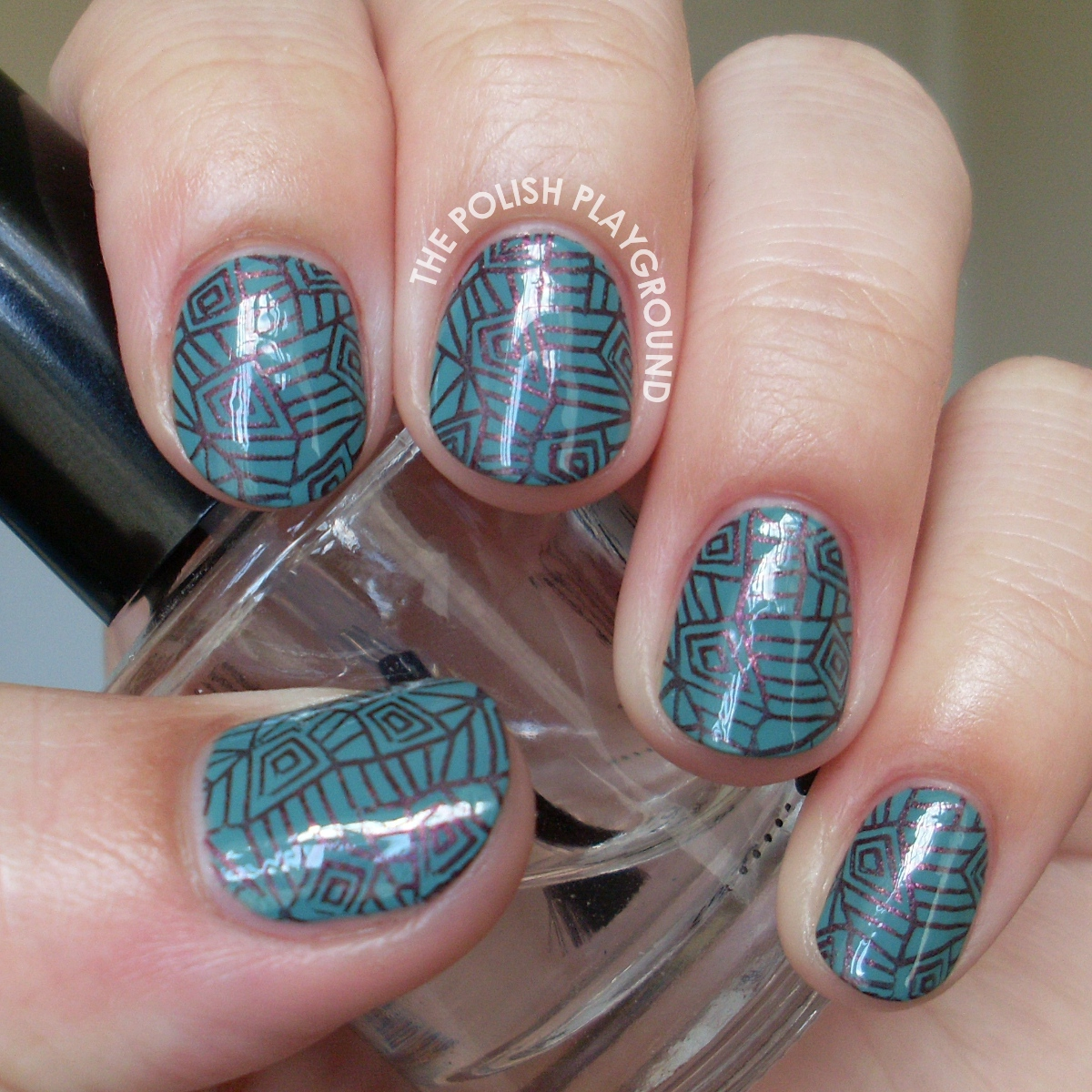 Warm Brown Geometric Stamping Nail Art