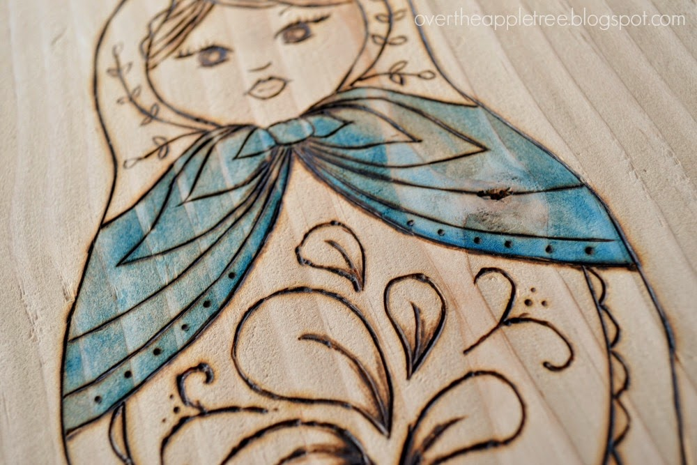 Matryoshka woodburning and water color project, Over The Apple Tree