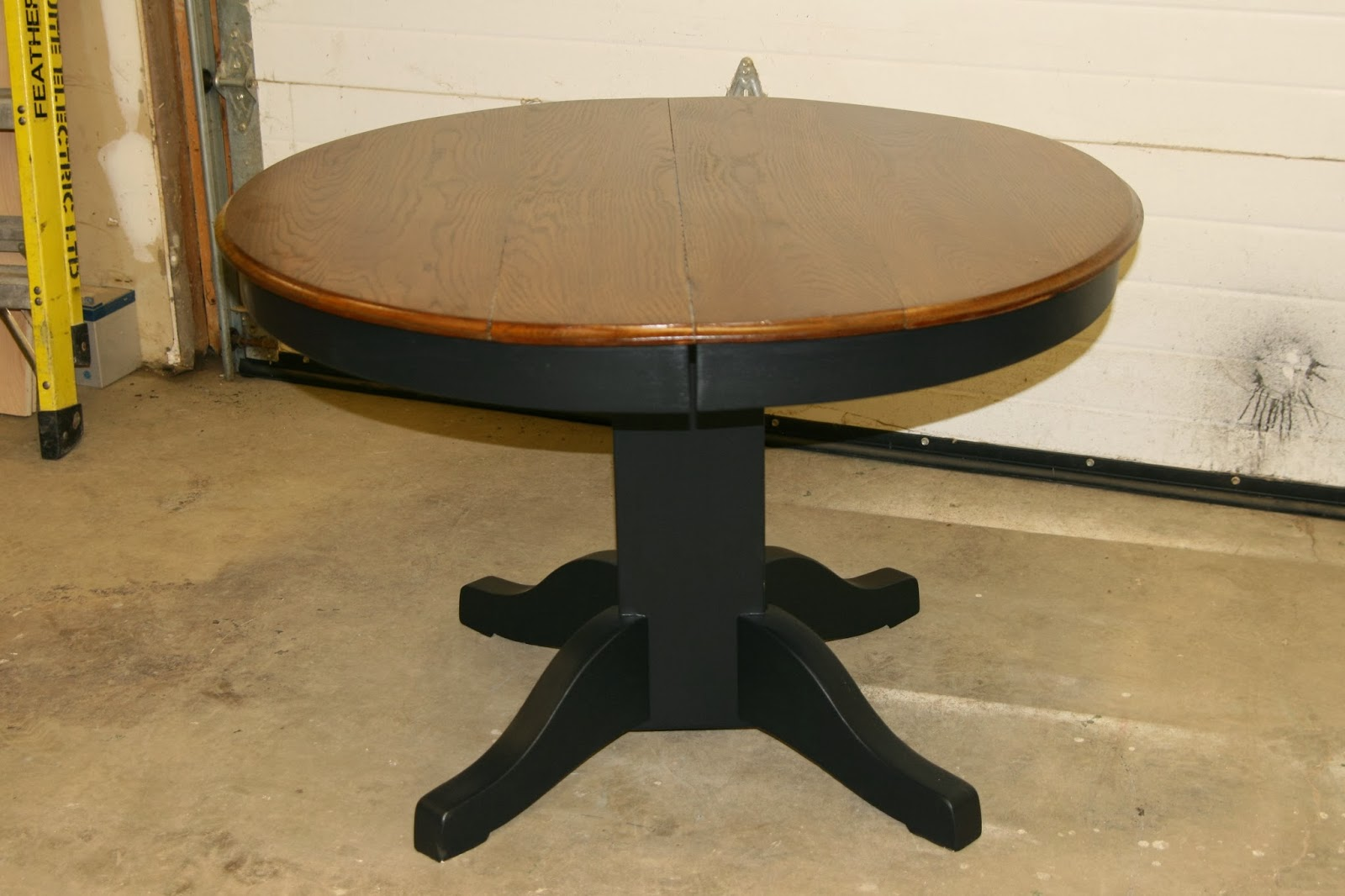 Dining Tables And Sets Black Pedestal Table With Stained Top