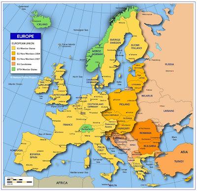 Mappa di Europa Politico