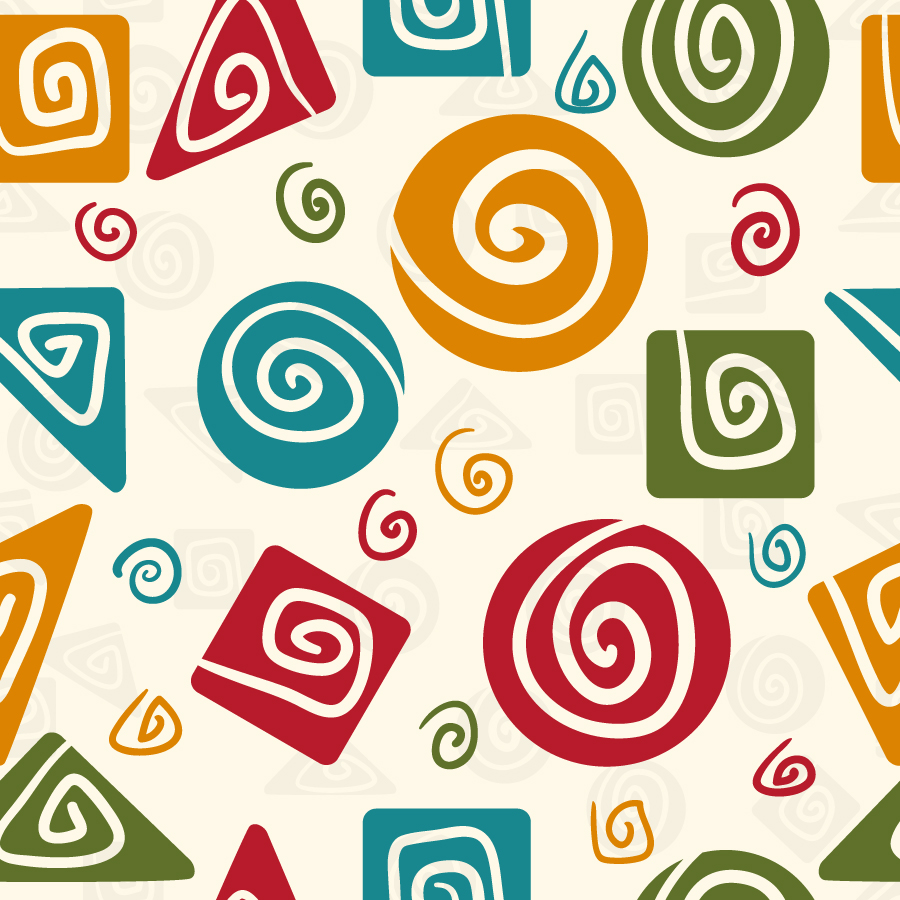 シームレスな渦巻きパターンの背景 Retro seamless spiral pattern イラスト素材