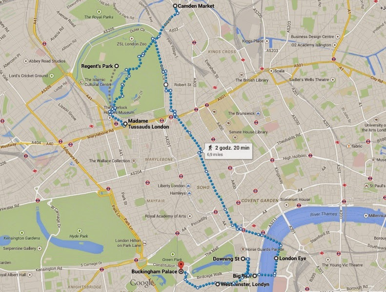 Mapka podróży po Londynie - dzień 2.