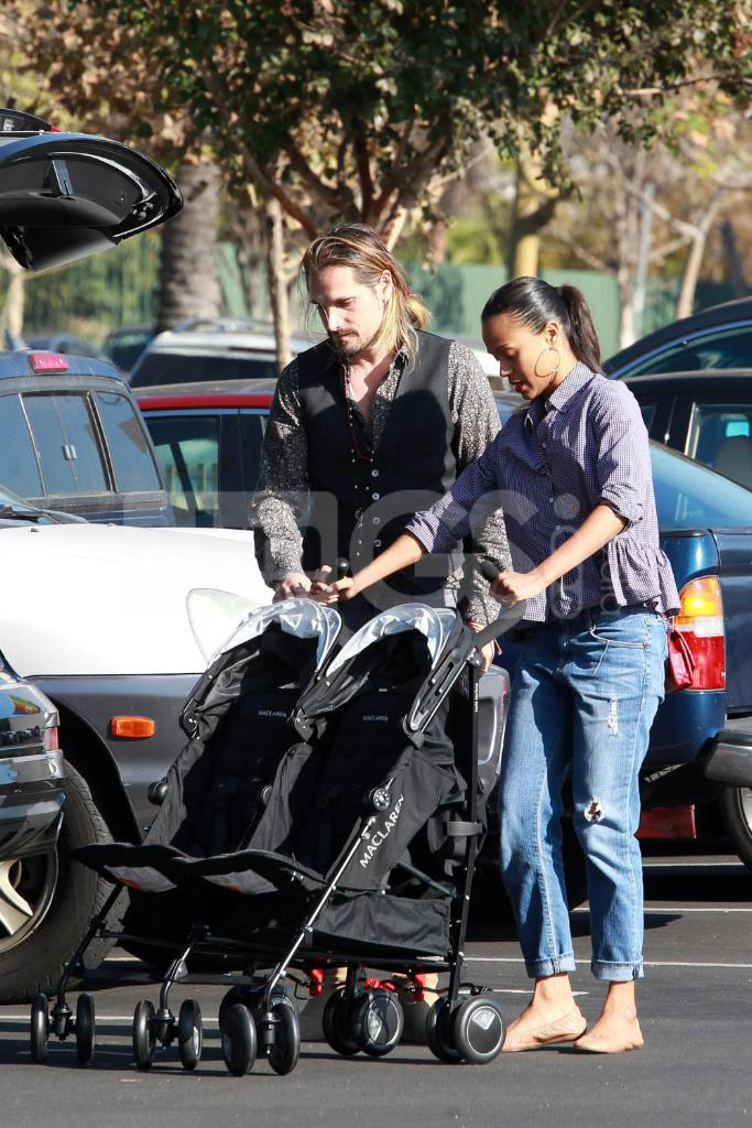 Zoe Saldana Wearing Parker Smith Jeans