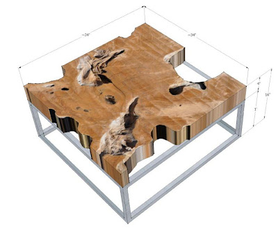 Teak Square Root Table with Stainless Prism Base