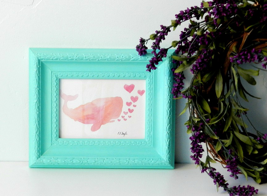Original Watercolor Pink Whale and Hearts Painting by Elise Engh: Grow Creative