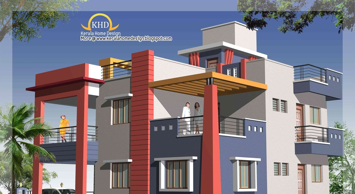duplex house elevation3 - 44+ Front Design Of Small House Ground Floor  Gif