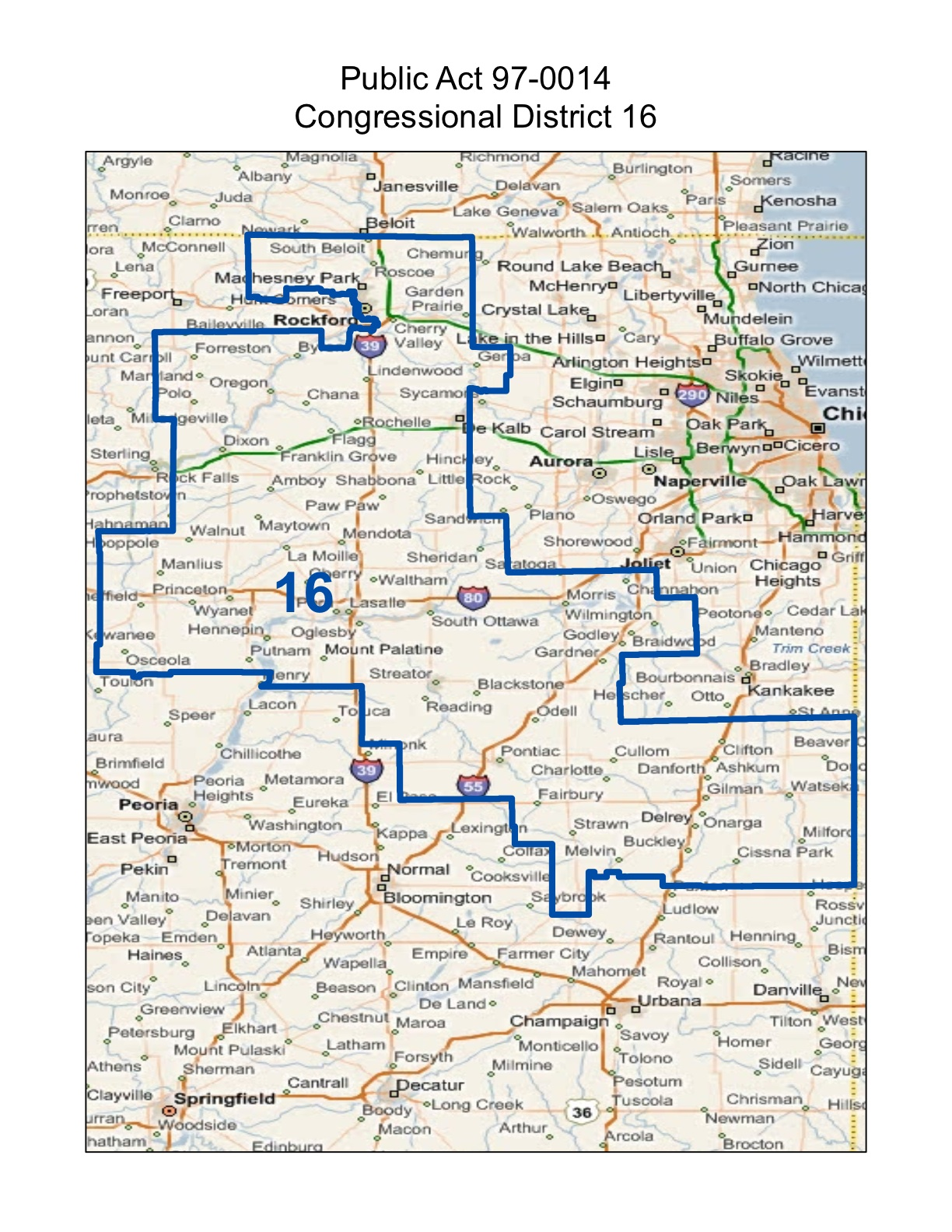 map of realigned illinois 16th congressional district