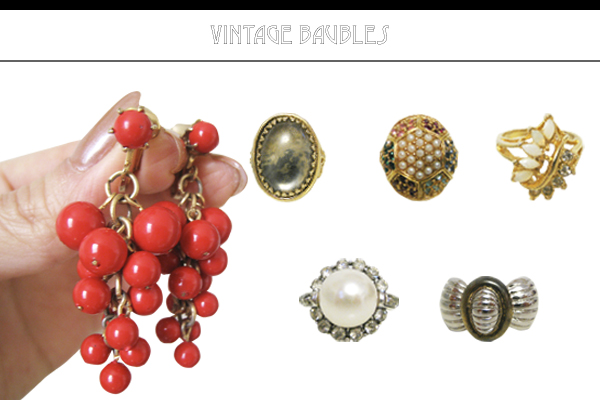 Vintage dangle earrings, vintage cocktail rings, and vintage 1960s costume jewelry from CutandChicVintage on Etsy