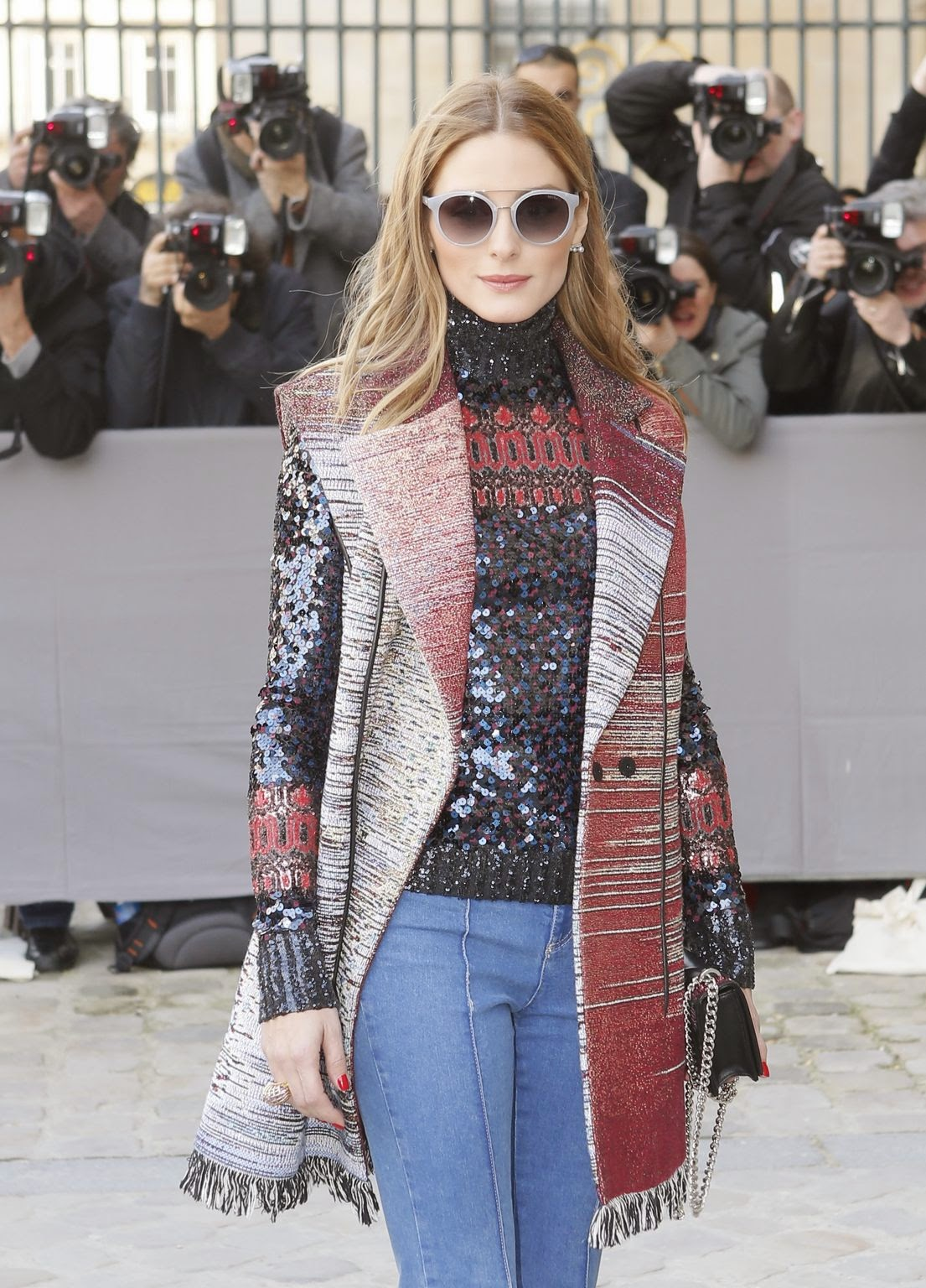 olivia-palermo-paris-fashion-week-fall-2015-sequin-top-under-vest