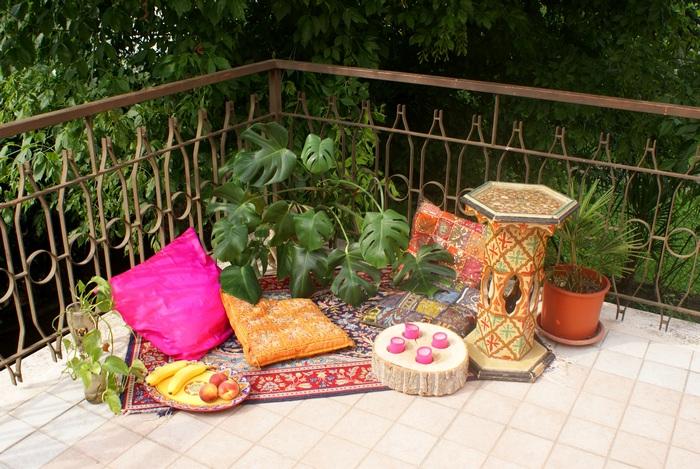 bohemian patio terrazzo howto decor