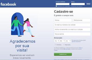 Cadastro no Facebook