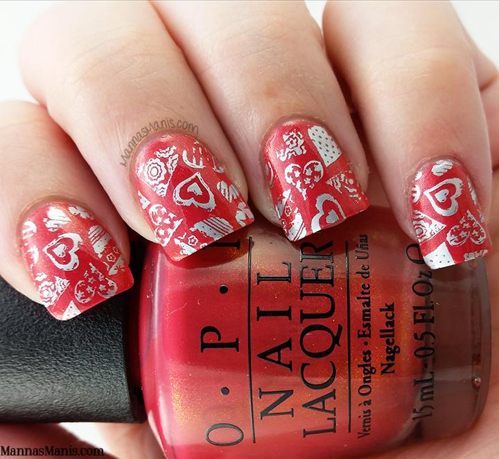 Valentine's day stamping nail art