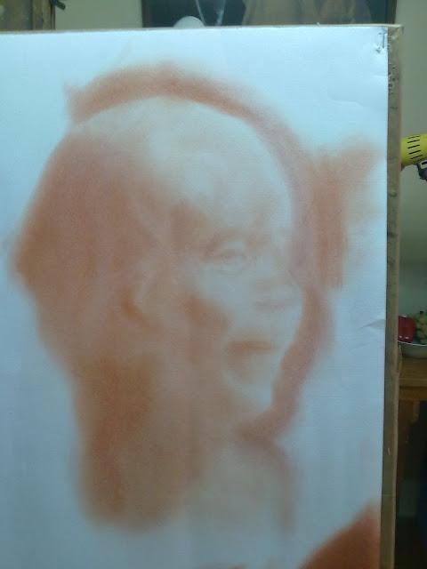 proceso de dibujo con mancha