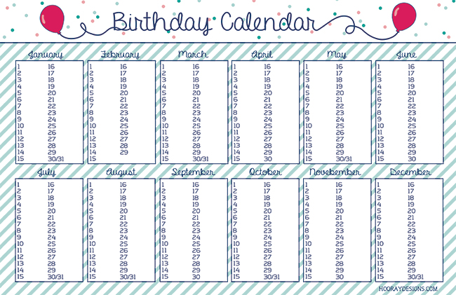 Hooray: New Year's Resolution: Birthday Calendar {Free Download!}