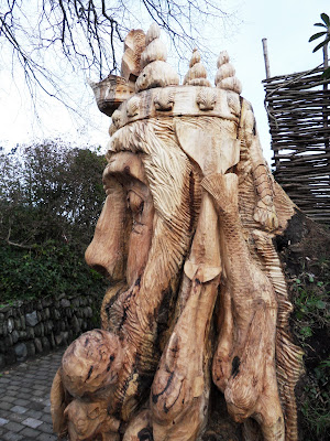 Charlestown, Cornwall a wooden carving of Neptune