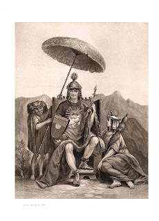 'Inca en su trono con esposa y enano' (1893) grabado sobre una obra de Edouard Riou, gentileza de mi amigo Darío Lavia