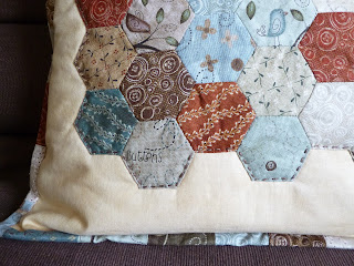 Patchwork cushion - attempting a modern design with traditional colours by fabricandflowers