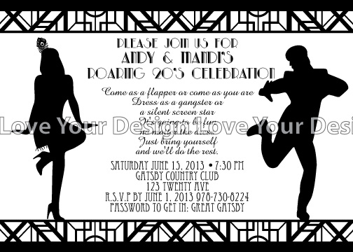 LynnetteArt Great Gatsby Birthday Invitation Graduation party – Gangster Party Invitations