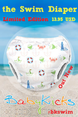 Enjoy some fun in the sun with the New BabyKicks Swim Diaper in Anchors Away!