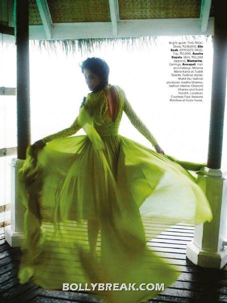 Nargis Fakhri in green dress - (11) - Nargis Fakhri Bikini Pics from Harper Bazaar Magazine Hot Scans