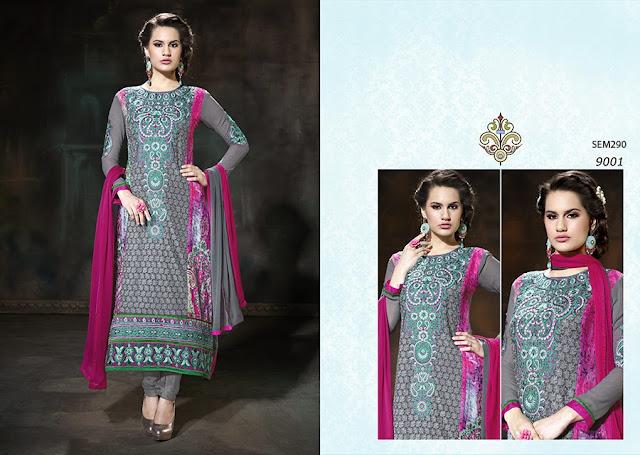Designer Karachi Work Long Straight Salwar Kameez