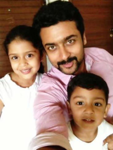 Suriya with children Diya and Dev