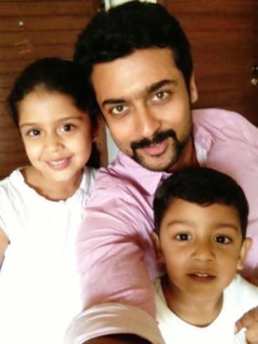 Suriya with children Diya and Dev