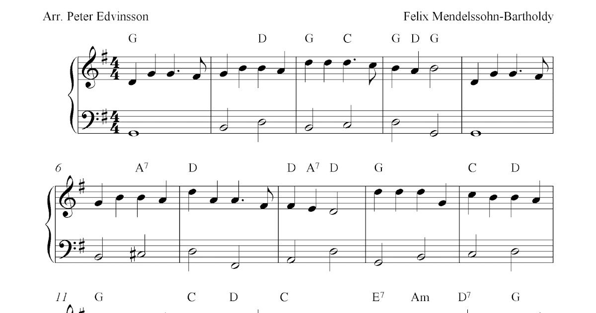 Free easy Christmas piano sheet music, Hark! The Herald