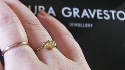 Laura Gravestock Pow! Dainty Stacking Ring On Finger