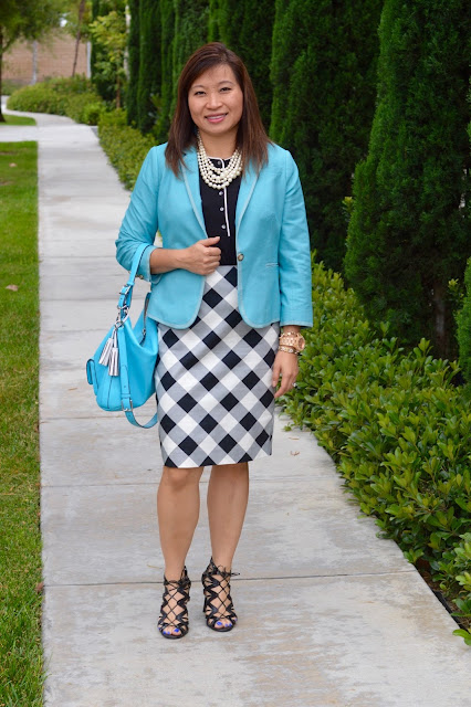 The Limited Checkered Skirt, office style, summer style, Over 40 Fashion, OC Blogger