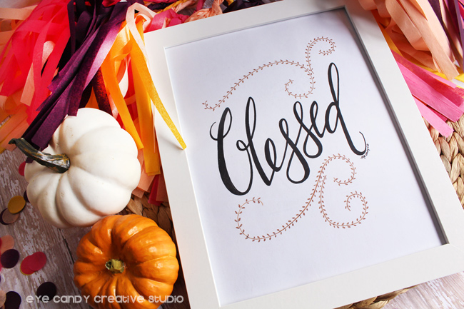 word art, pen and ink pumpkins, confetti, give thanks, baby shower