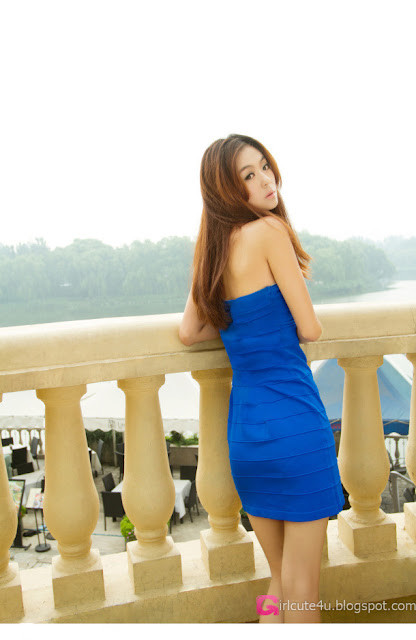 3 Lu Yao in blue dress-Very cute asian girl - girlcute4u.blogspot.com