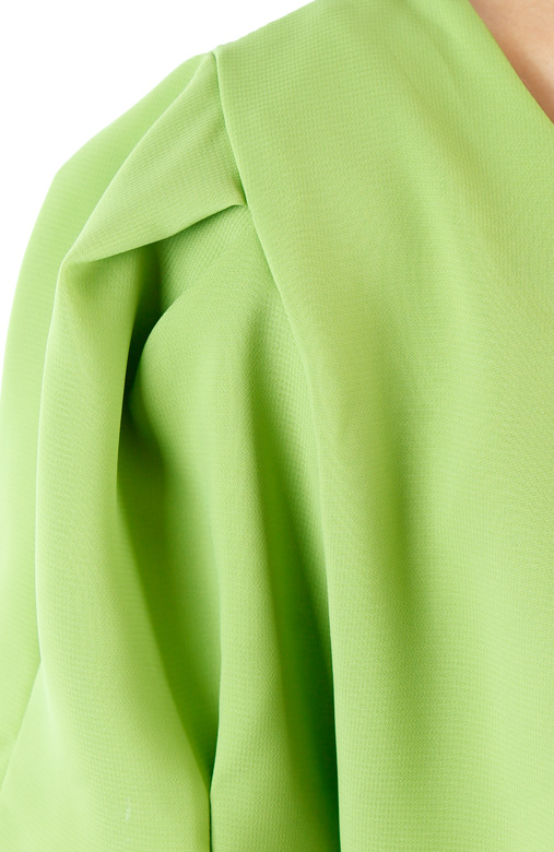 Spring Green Tulip Sleeve Blouse with Pleat Detail