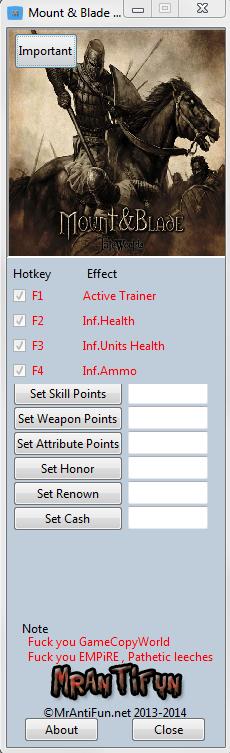 Mount & Blade Warband V1.161 Trainer +8 MrAntiFun