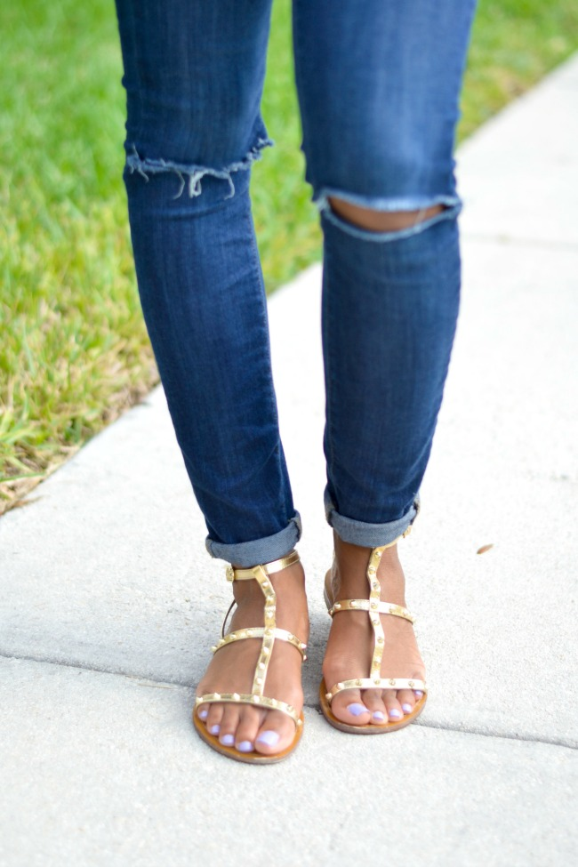 Gold Studded Sandals   Summer Outfits