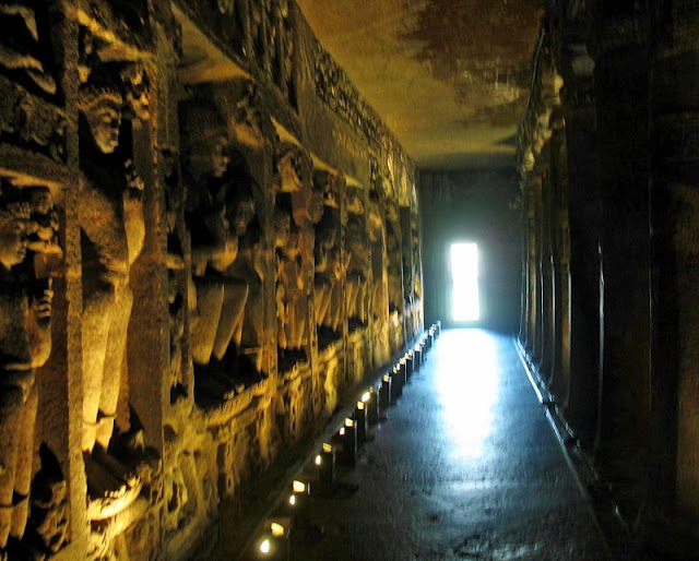 temple corridor at Ajanta in Aurangabad