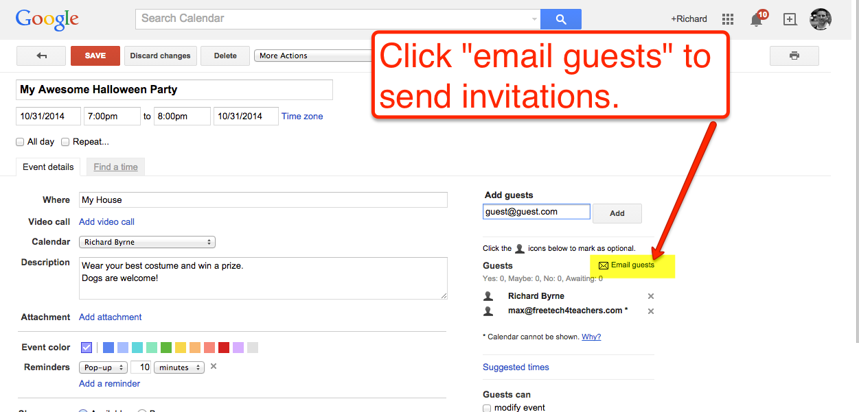 Free Technology For Teachers How To Invite Guests To Google