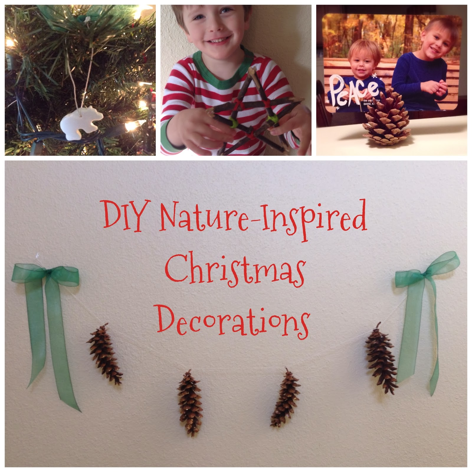 DIY nature-inspired Christmas decorations.