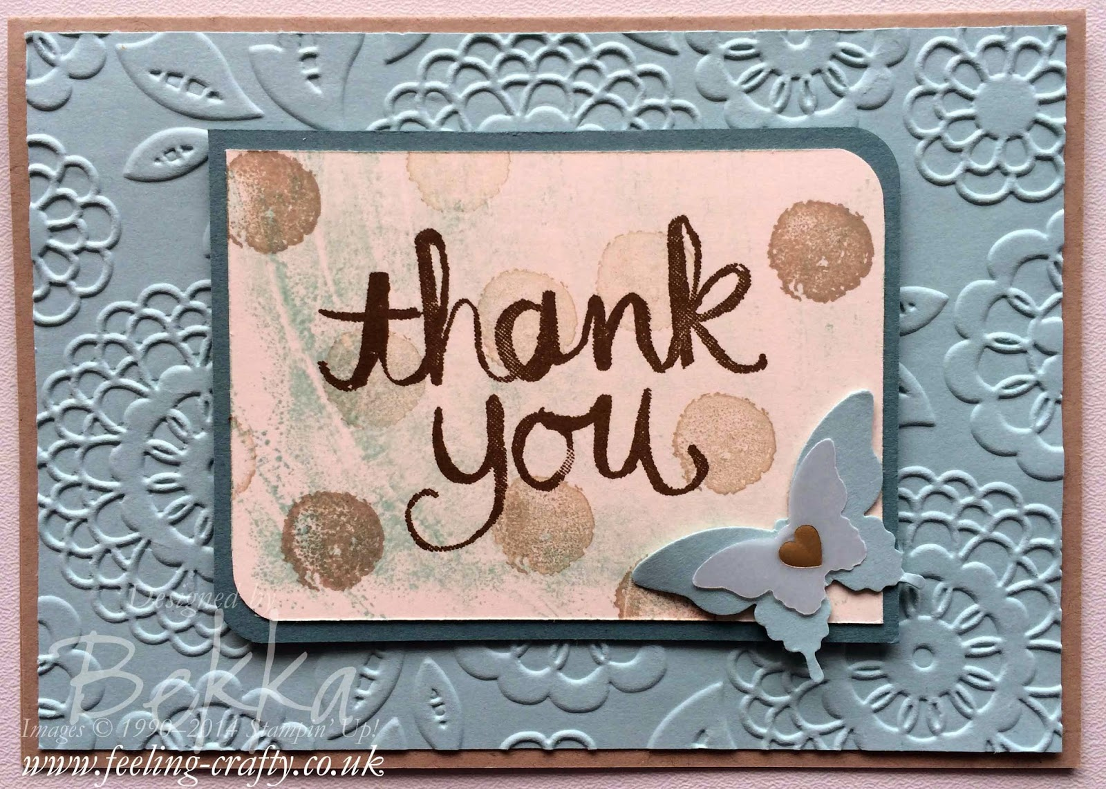 Work of Art with Watercolor Thank You Card by Stampin' Up! UK Independent Demonstrator Bekka Prideaux