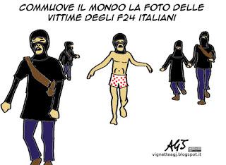 F24, bombardamenti, convenzione di Ginevra, tasse, ISIS, vignetta satira
