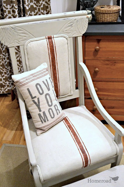 homeroad chalk paint on a fabric chair. Black Bedroom Furniture Sets. Home Design Ideas