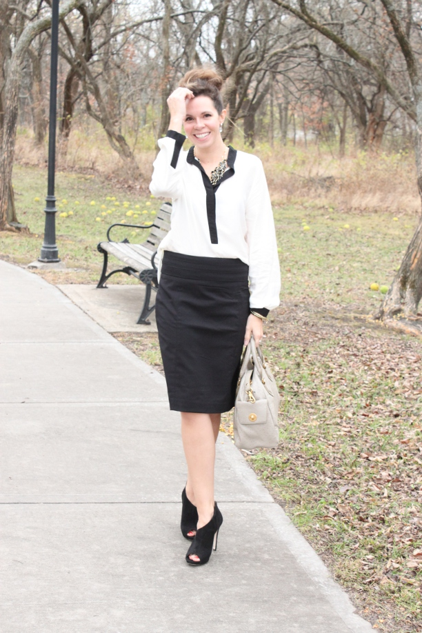 Pretty Polished Perfect, black and white, black pencil skirt, white blouse