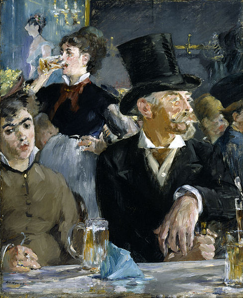 Manet's 'At the Cafe' painted in 1878. This scene takes place in the Cabaret de Reichshoffen on the Boulevard Rochechouart, where women on the fringes of society socialize with Parisian gentlemen. While you can see many of Manet's works in Paris, this one is in the The Walters Art Museum in Ohio. Photo: WikiMedia.org.