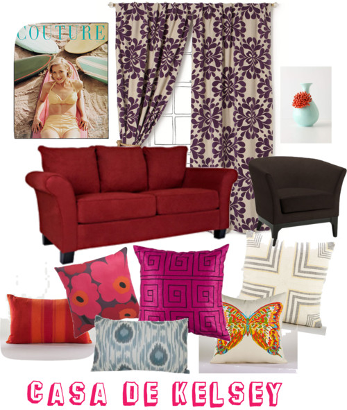 design board with red couch